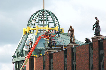 continues on the steel and glass domed entrance to the grohmann museum